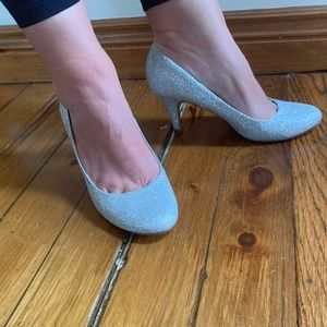 "Call It Spring silver ""buskey"" glitter heels"